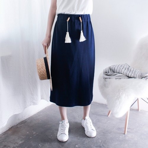 MaodiuL fresh blue tassel Europe and America Institute of fashionable knitted skirt
