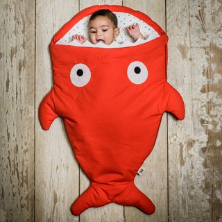 [Spanish] Shark bite a BabyBites cotton baby multi-purpose sleeping bag - happy red