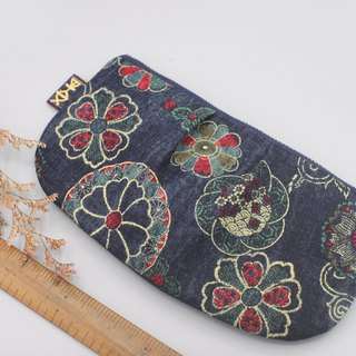 Peaceful Universal Bag - Washed Blue Red Flower - Pencil Case, Cosmetic Bag, Glasses Case, Storage Bag