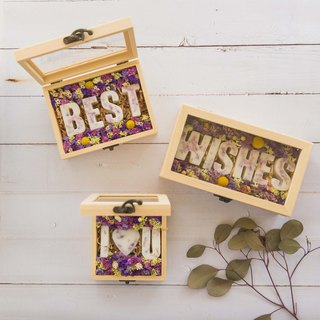 English alphabet scented brick dry flower gift box - medium