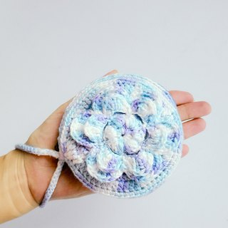 To a flower cake ~ sky blue hand hook lamb cashmere cotton summer yarn wool bag