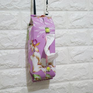 Movable hook hanging storage bag sanitary carton face box camper with ~~ light purple flower