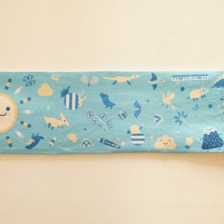 Lonely Planet Sports Towel - Sun Gonggong and Dinosaur Party - Light Blue