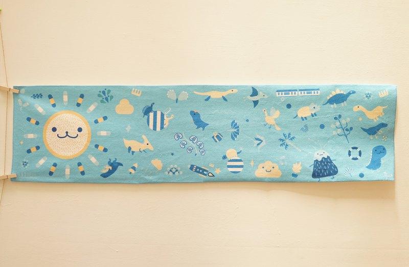 運動毛巾-太陽公公與恐龍派對-淺藍-下單後製作-不接受退貨