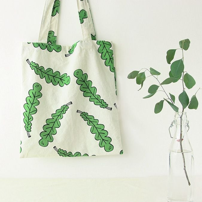 Clear Specials - Forest Cotton Shoulder Tote - Leaves, LWK36746