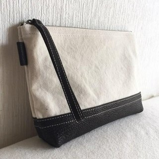 Simple pouch of vintage 8 canvas and goat leather tannin soft dumpling [black]