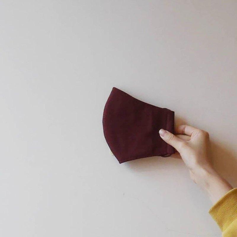 酒紅純棉立體口罩-可寄國外