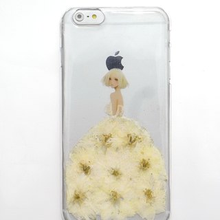 Pressed flowers phone case, iphone 6 plus, White dress