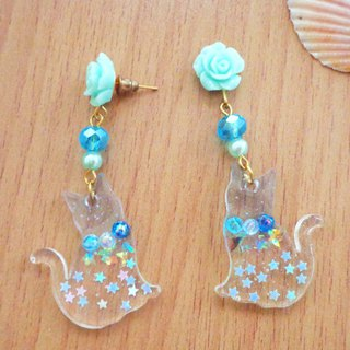 Blue Transparent Cat Earrings in Pierce and Clip-on Decor with Star Glitter