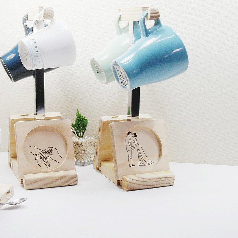 結婚禮物 新婚 居家 擺設 杯墊 馬克杯掛架 客製化 刻圖案 刻文字