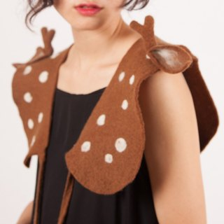 Ke people original design Sen Department Fawn vest loose short handmade creative vest women spring and autumn winter pure wool