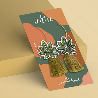 Leaf patch Tassel Earrings