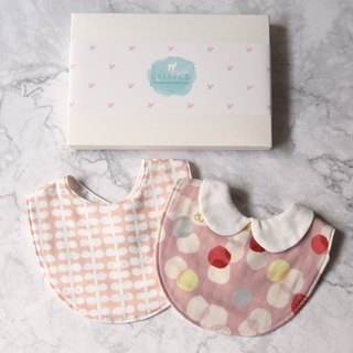 Female baby saliva towel two-piece group moon gift full moon gift box baby gift six-fold yarn bib gift box