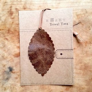 Leather leather - Travelers Bookmarks / Charm / Card (Earth burst crack leather) - Free custom English name / Sentence typewriting service