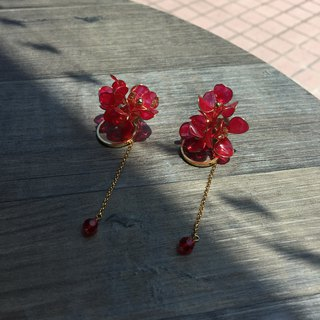 cLeAr flowers hand made light red bouquet 5 Ways earrings - gold limited edition