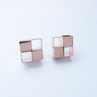 Geometric Landscape 12 Rose Metal Earrings