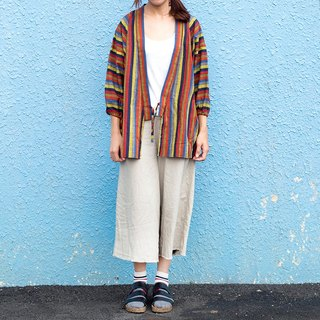 Calf Village Calf Village Vintage Neutral Day Hemp Coat Jacket Bathrobe Striped Half Day Color Stripes {Rainbow Flat [V-15]