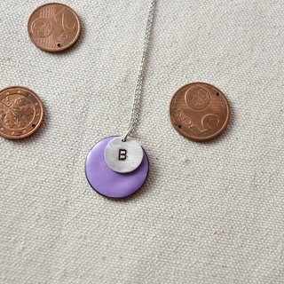 Euro coin / letter silver necklace / B
