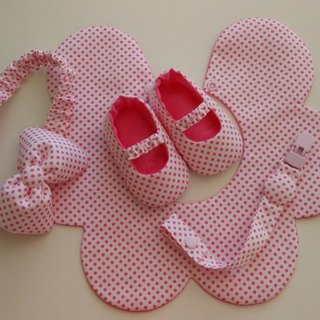 Little pink baby shoes gift births + bibs + headband + pacifier clip