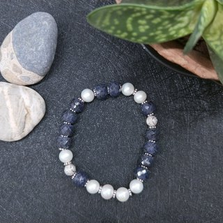 [The only product] sapphire ore*pearl*pure silver bead bracelet