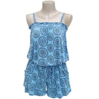 New of the summer! Flower Circle camisole all-in-one <Blue>