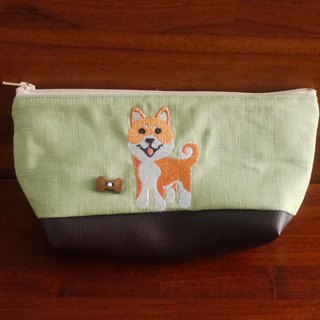 Shiba's custom embroidered pencil pouch storage bag 10 colors free embroidery name in English please note