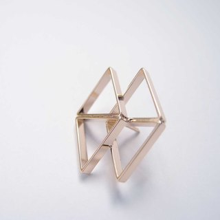 Geometric landscape 2 metal brooch