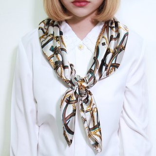 Back to Green :: classical silk scarves heart-shaped chain MADE IN KOREA vintage scarf (SC-12)