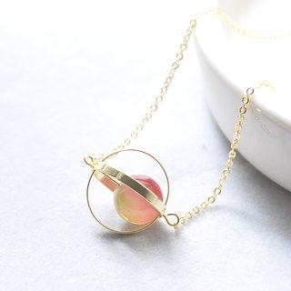 Symphony planet. universe. Golden Circle. Watermelon Bi 壐. Necklace Color-Shift Planet. Galaxy. Golden Ring. Tourmaline. Necklace. birthday present. Girlfriend gift. Sister gift
