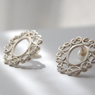Watermark lace-like pierced earrings [SILVER 950]