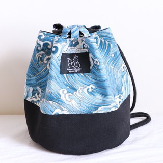 Blue wave print side bucket bag
