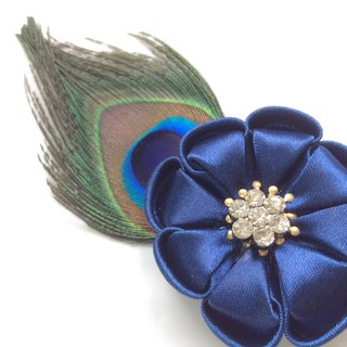Kanzashi feather blue ribbon flower brooch