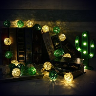 "HomePlus LED Atmosphere Rattan Ball Lights - Light Green+Dark Green ""Battery"" 2m long"