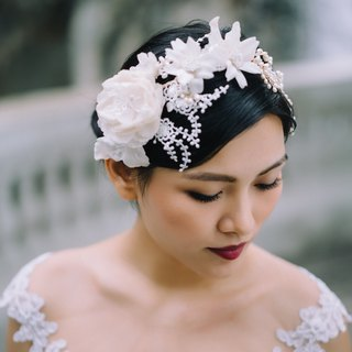 Handmade silk flowers + freshwater pearl crown bride headdress / Fa ornaments