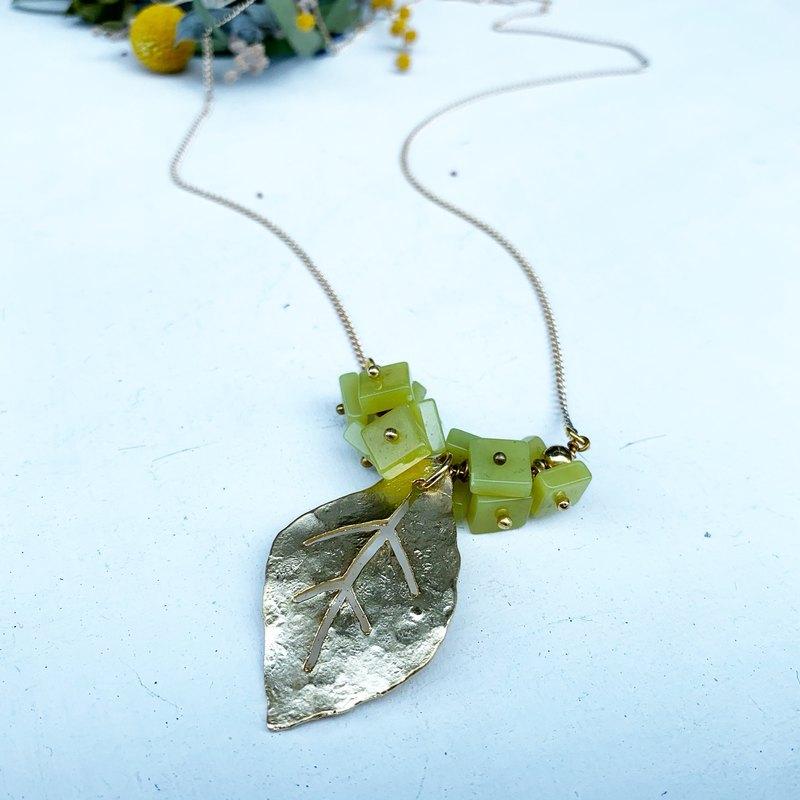 獨家獨家-春夏新小改版一片葉子檸檬石銅項鍊_長項鍊_短項鍊