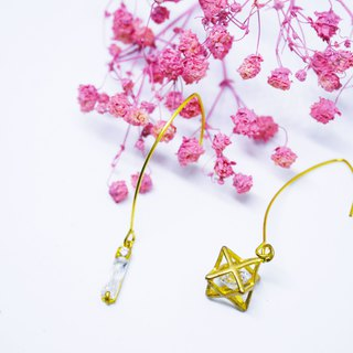 Star line zircon earrings