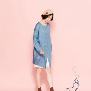Round neck long denim shirt 122J501