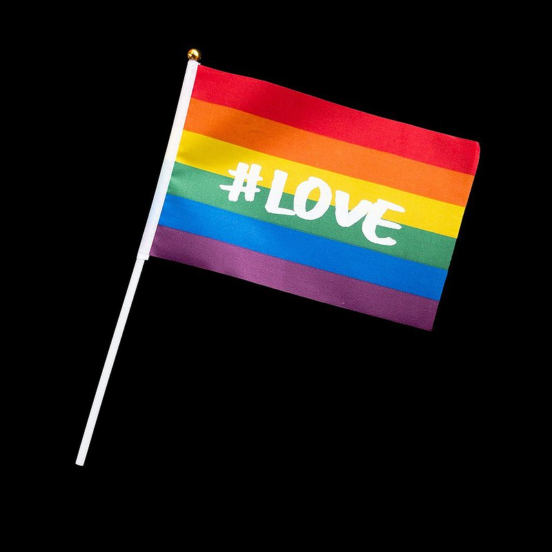 晦澀詩-彩虹旗-絹印迷你手拿旗(XS)——#LOVE