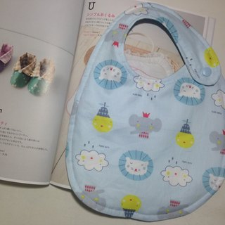 \ Summer new color / big animal (light blue) double-sided bib