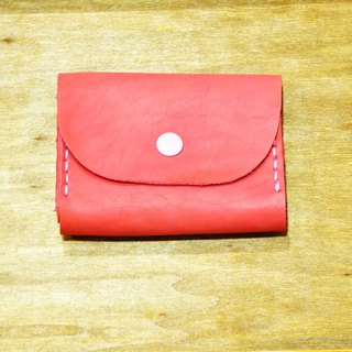Double Card Leather Coin Purse - Meat Red Fetal Leather