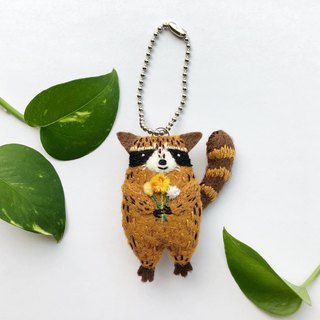 Raccoon charm key ring