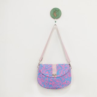Mercury cocktail side saddle bag sheepskin + cotton blue + pink evening bag limited edition one
