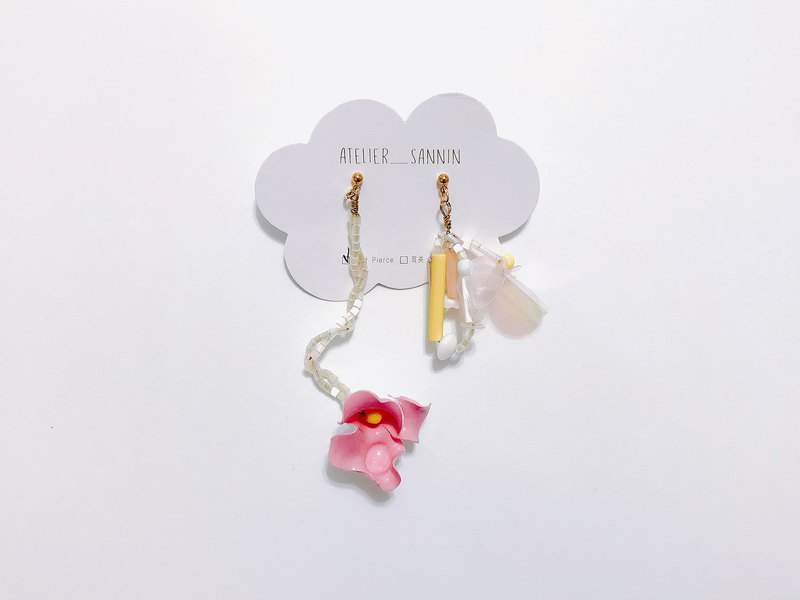 Summer vine flower - pink drape hand made sweet temperament handmade earrings ear hook / ear clip