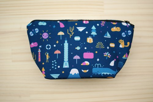 [Out of print] Cosmetic bag, Pencil case - Urban dark blue, Dinosaur white - All last one left