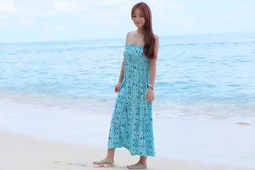 New! Ikat print tube top long dress <Blue>