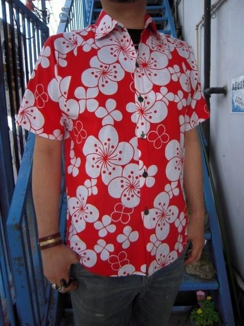 Yukata remake shirt (classic flowers A pattern)