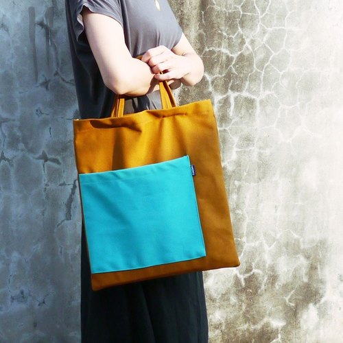 WaWu Eco Bag (earth-yellow) / canvas bag / Canvas tote bag / School bag
