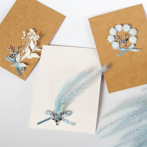 Her Bouquet snow blue card | dried flower ancient silver pin Christmas cards arrive quickly snowball deer
