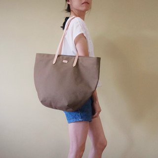 Olive Green Beach Tote Bag with Leather Strap - Casual Weekend Tote