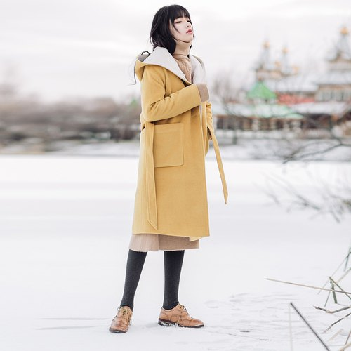 Anne Chen 2017 winter new women's hit color hooded long coat